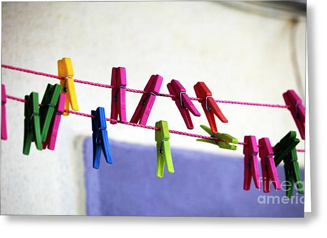 Clothes Pins Greeting Cards - Clothes Pin Colors Greeting Card by John Rizzuto