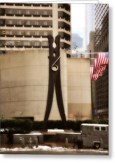Clothes Pins Greeting Cards - Clothes Pin Statue in Philadelphia Greeting Card by Bill Cannon
