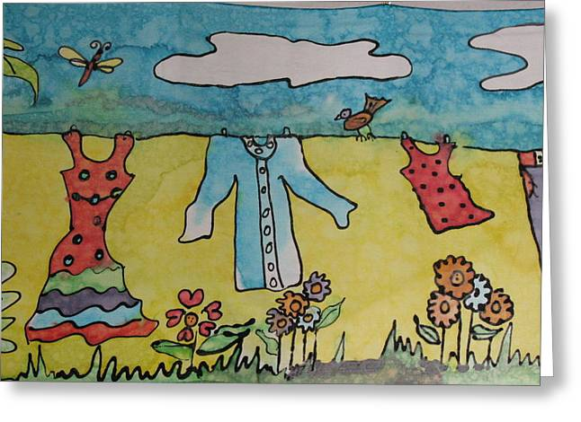 Clothesline Greeting Card by Yvonne Feavearyear