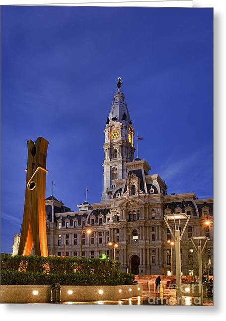 Public Art Greeting Cards - Clothespin and City Hall Greeting Card by John Greim