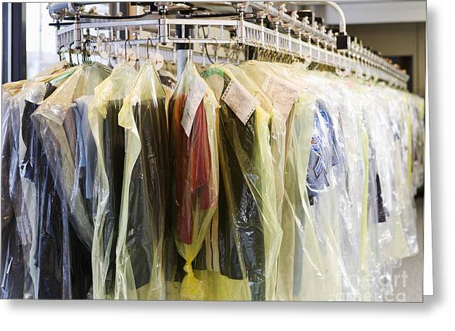 Clothing At Dry Cleaners Greeting Card by Andersen Ross