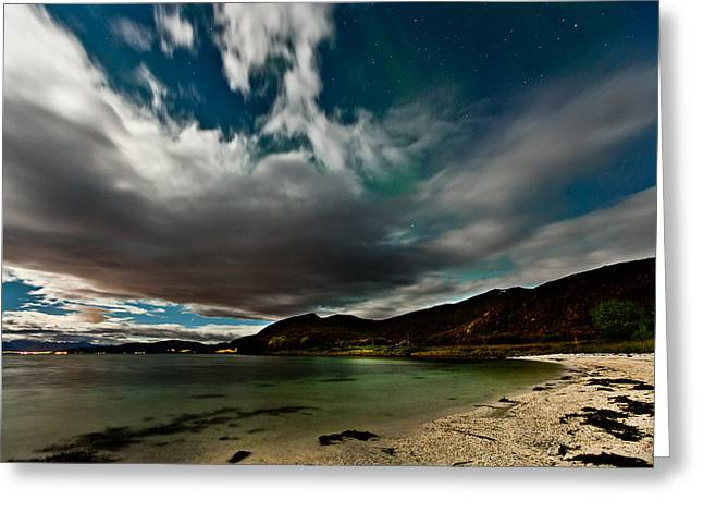 Aurora Lake Greeting Cards - Cloud and Auroras Greeting Card by Frank Olsen
