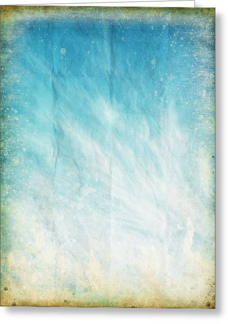 Border Photographs Greeting Cards - Cloud And Blue Sky On Old Grunge Paper Greeting Card by Setsiri Silapasuwanchai