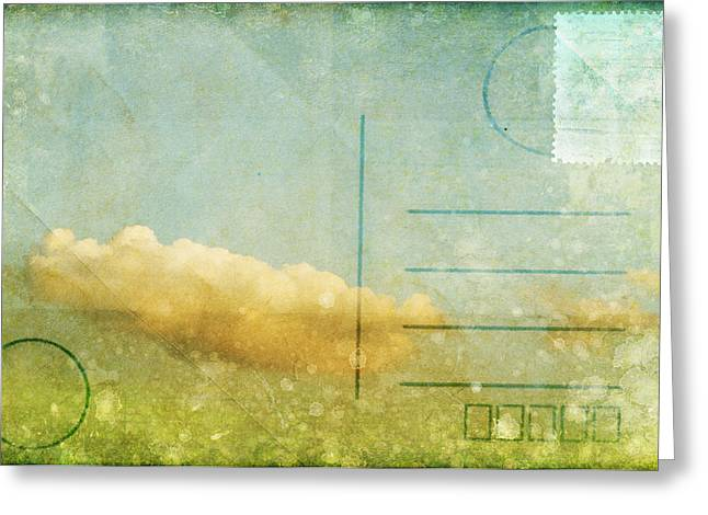 Old Stamps Greeting Cards - Cloud And Sky On Postcard Greeting Card by Setsiri Silapasuwanchai