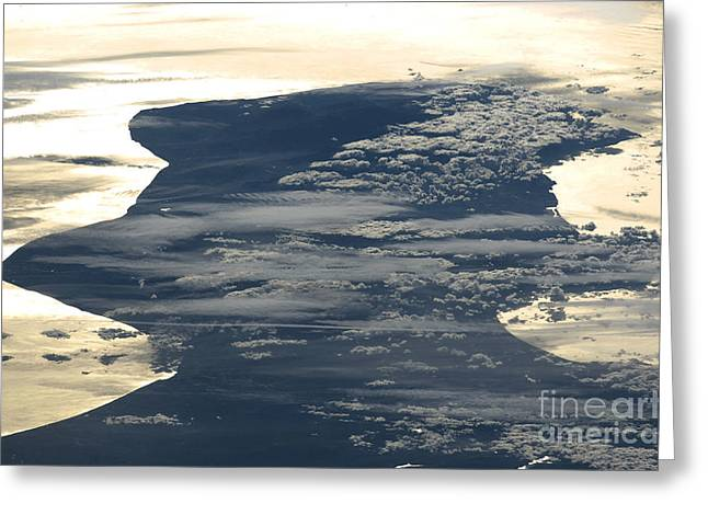 Aerial Photograph Greeting Cards - Cloud Formations And Sunglint, Italy Greeting Card by NASA/Science Source