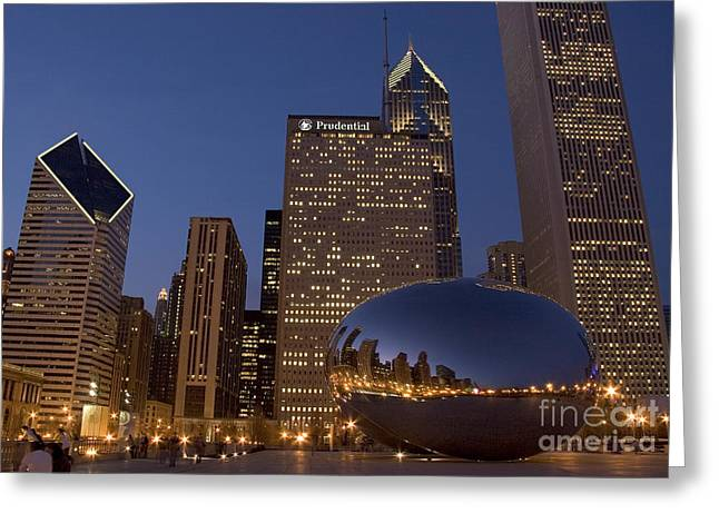 Cloud Gate Greeting Cards - Cloud Gate at Night Greeting Card by Timothy Johnson