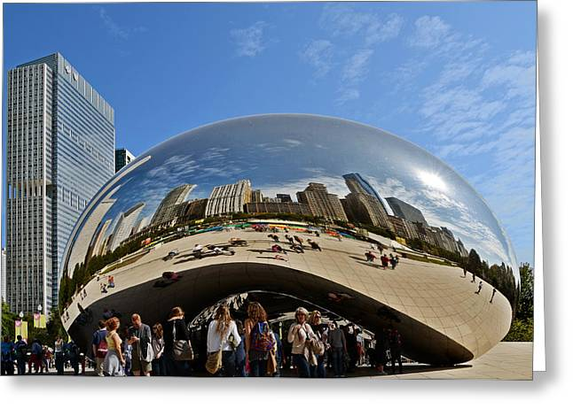Mirrored Greeting Cards - Cloud Gate - The Bean - Millennium Park Chicago Greeting Card by Christine Till