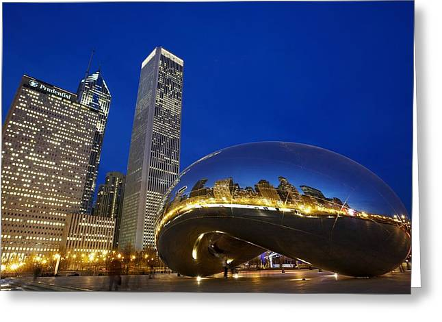 Town Square Greeting Cards - Cloud Gate The Bean Sculpture In Front Greeting Card by Axiom Photographic