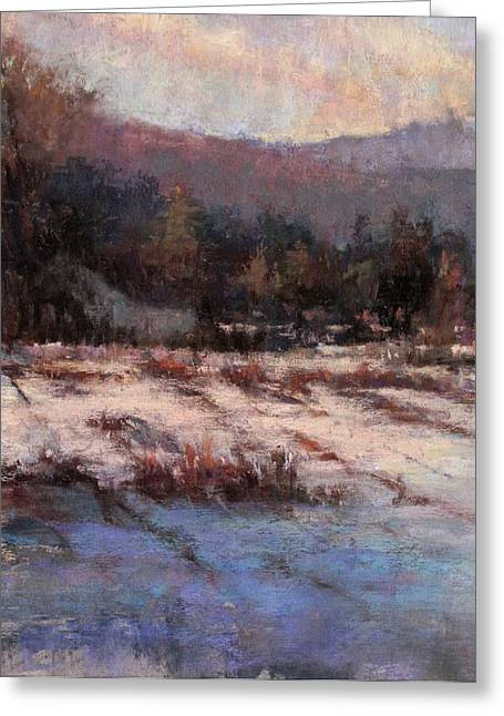 Snow Scene Landscape Pastels Greeting Cards - Cloud Shadows Greeting Card by Susan Williamson