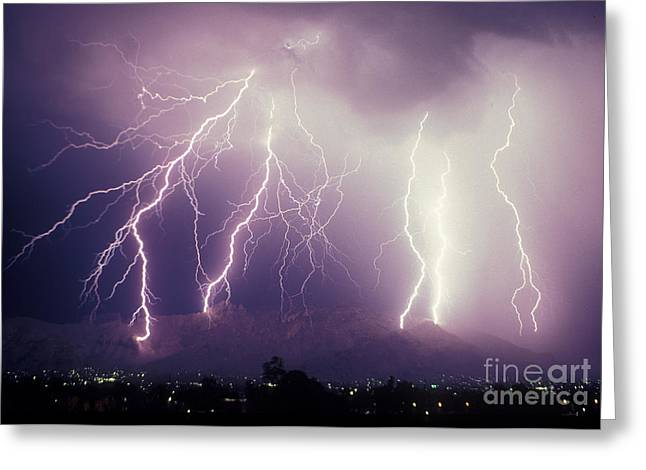 Lightning Photographs Greeting Cards - Cloud to Ground Lightning Greeting Card by John A Ey III and Photo Researchers