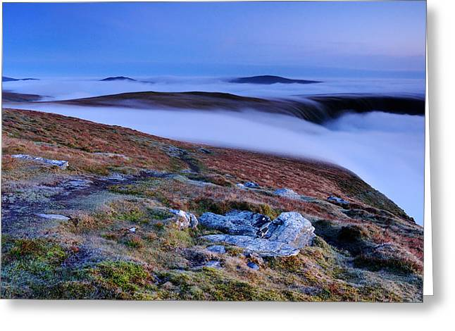 Temperature Inversion Greeting Cards - Cloud Waterfalls Bannerdale Crags Greeting Card by Stewart Smith