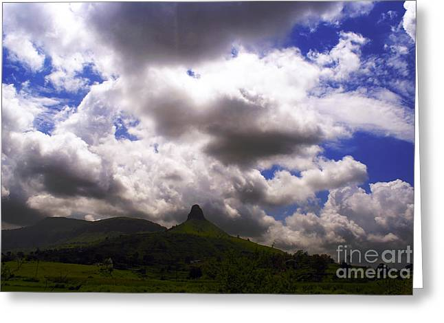 Authentic Greeting Cards - Clouded Hills At Nasik India Greeting Card by Sumit Mehndiratta