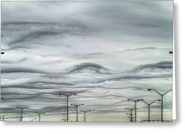 Streetlight Digital Art Greeting Cards - Clouds and Poles Greeting Card by Bill Lindsay