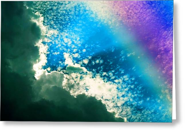 Clouds And Rainbow Colors Greeting Card by Susan Leggett