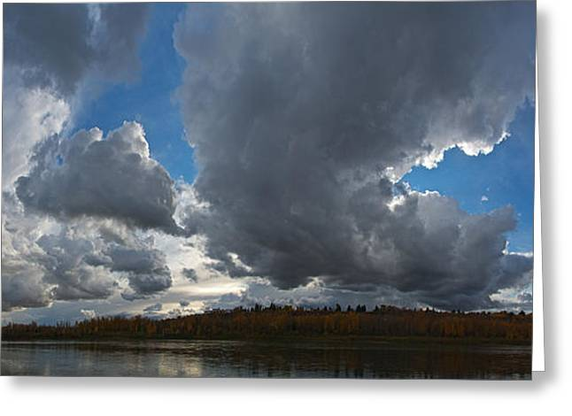 Alberta Water Falls Greeting Cards - Clouds and River Edmonton Greeting Card by David Kleinsasser