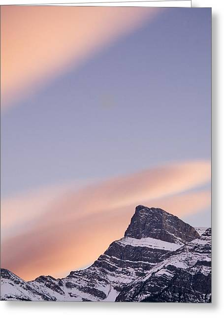 Canadian Prairies Greeting Cards - Clouds At Sunset Above Mountain Peaks Greeting Card by Eryk Jaegermann
