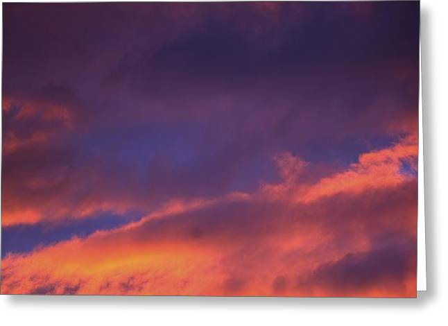 Clouds In Sky With Pink Glow Greeting Card by Richard Wear