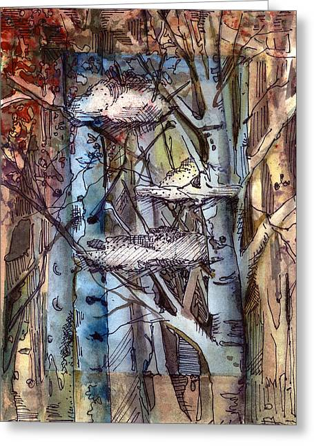 Birch Tree Drawings Greeting Cards - Clouds in the Trees Greeting Card by Mindy Newman