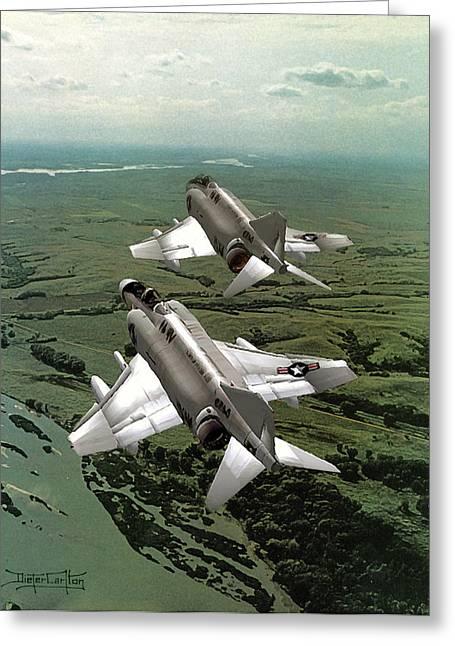 Jet Paintings Greeting Cards - Clouds of Steel Greeting Card by Dieter Carlton