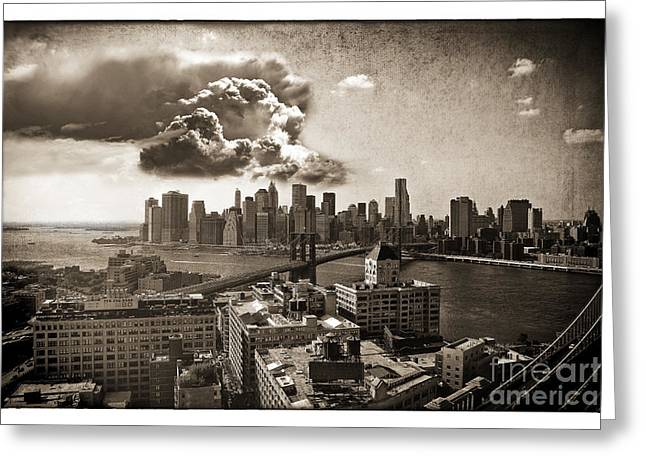 Dumbo Greeting Cards - Clouds Over Manhattan Greeting Card by Madeline Ellis