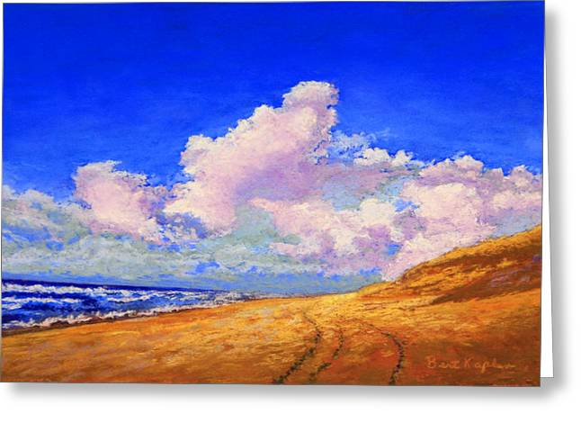 Sandy Beaches Pastels Greeting Cards - Clouds Over Sand Greeting Card by Bert Kaplan