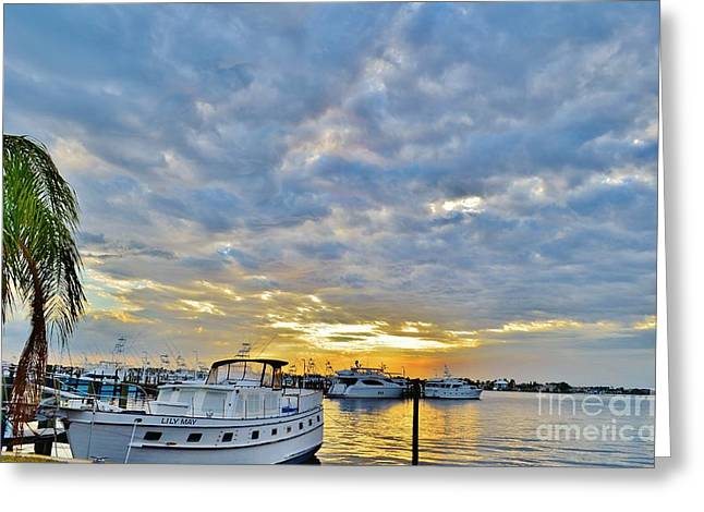 St. Lucie River Greeting Cards - Clouds Over the Lily May Greeting Card by Lynda Dawson-Youngclaus