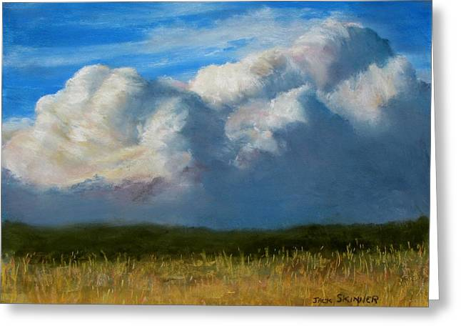 Storm Clouds Cape Cod Greeting Cards - Clouds Over the Meadow Greeting Card by Jack Skinner