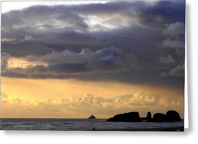 Tillamook Rock Lighthouse Greeting Cards - Clouds Over Tillamook Lighthouse Greeting Card by Will Borden