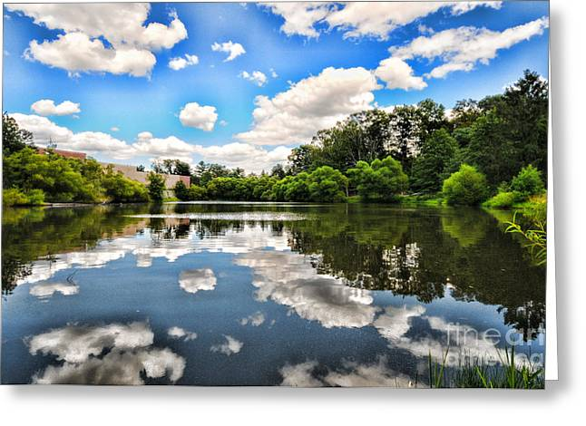 Quite Greeting Cards - Clouds reflection on water Greeting Card by Paul Ward