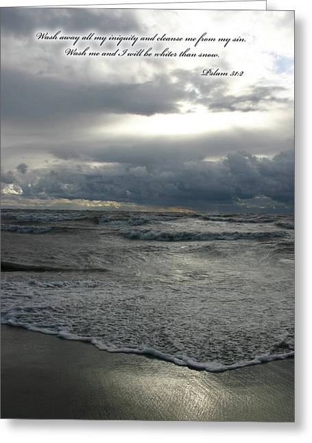 Psalm 51:2 Greeting Cards - Clouds sunbeam waves Greeting Card by Kevin Doty