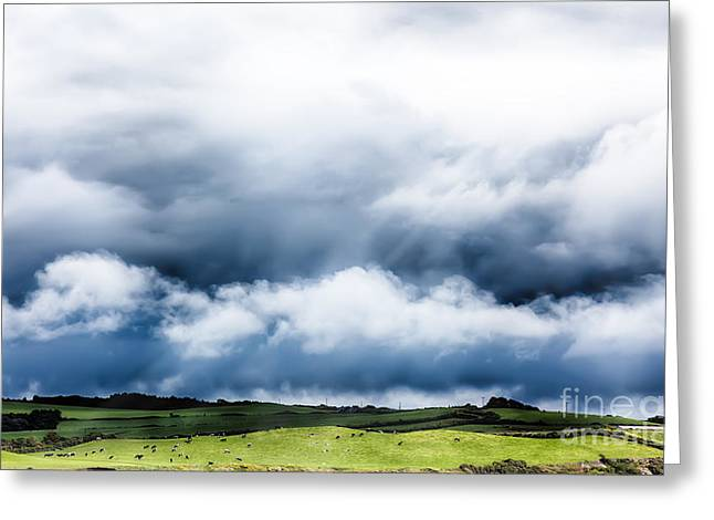 Farmers Field Greeting Cards - Cloudscape over cow field Greeting Card by Simon Bratt Photography LRPS