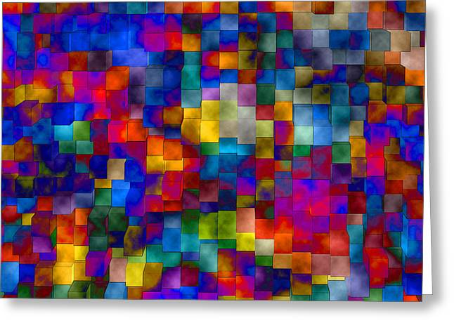 Abstract Geometric Greeting Cards - Cloudy Cubes Greeting Card by Ruth Palmer
