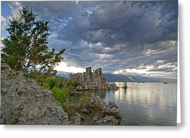 Mono Greeting Cards - Cloudy Evening at Mono Lake - California Greeting Card by Brendan Reals