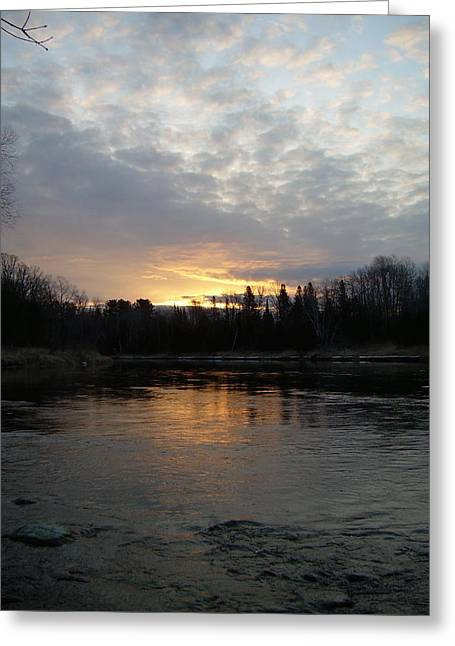 Mississippi River Pyrography Greeting Cards - Cloudy Mississippi river Sunrise Greeting Card by Kent Lorentzen