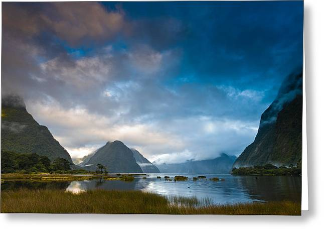 Haze Greeting Cards - Cloudy morning at milford sound at sunrise Greeting Card by Ulrich Schade