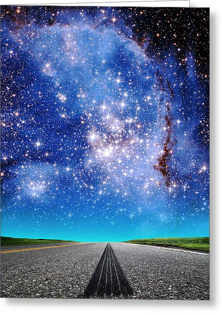 Composite Photo Greeting Cards - Cloudy Roads Ahead Greeting Card by Larry Landolfi