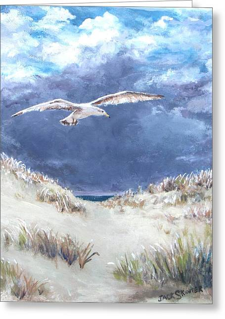 Jack Skinner Paintings Greeting Cards - Cloudy with a Chance of Seagulls Greeting Card by Jack Skinner