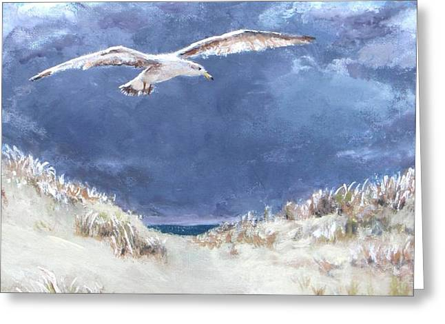 Cloudy with a Chance of Seagulls Greeting Card by Jack Skinner