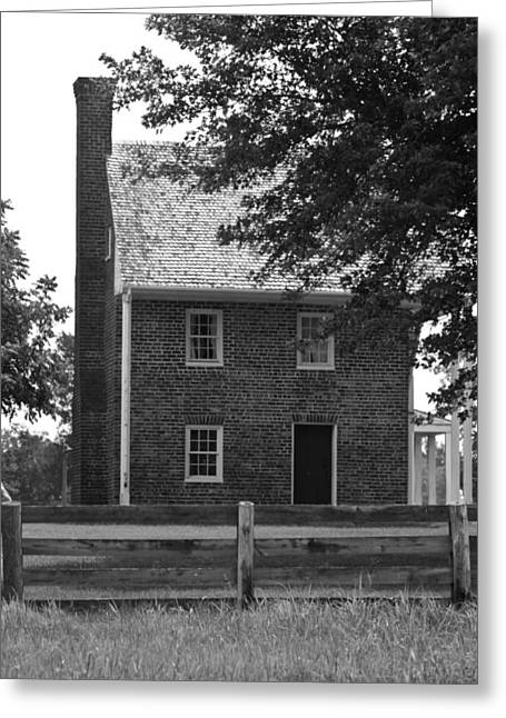 Richmond-lynchburg Stage Road Greeting Cards - Clover Hill Tavern Guesthouse BW Greeting Card by Teresa Mucha