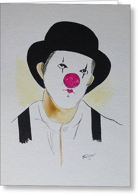 Suspenders Mixed Media Greeting Cards - Clown   Greeting Card by Robert Tarzwell