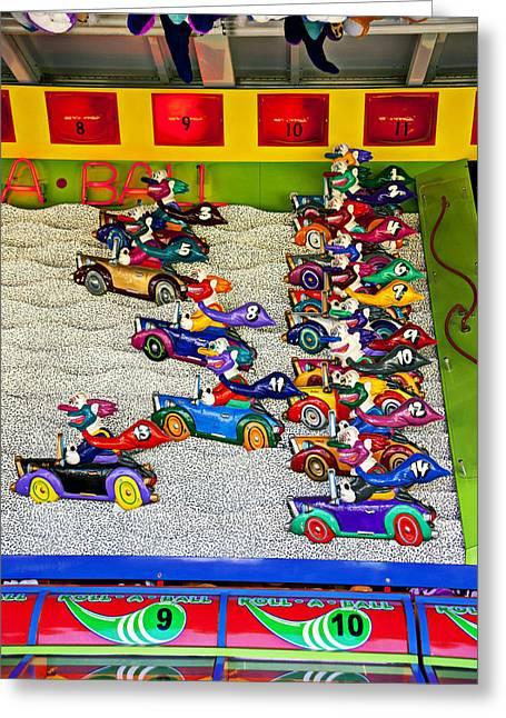 Clown Greeting Cards - Clown car racing game Greeting Card by Garry Gay
