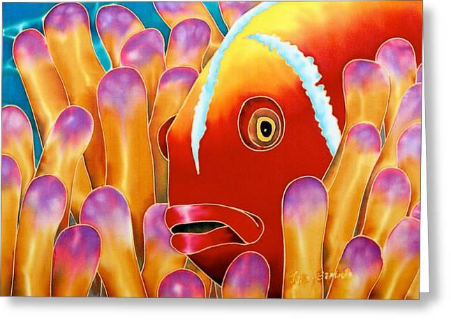 Caribbean Art Tapestries - Textiles Greeting Cards - Clown Fish  Greeting Card by Daniel Jean-Baptiste