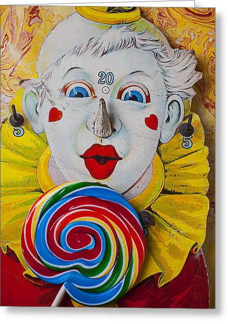 Cardboard Greeting Cards - Clown game and sucker Greeting Card by Garry Gay