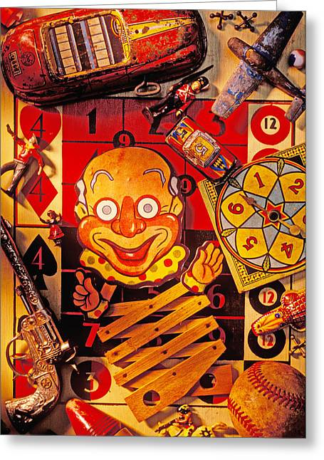 Clown Greeting Cards - Clown toy and old playthings Greeting Card by Garry Gay