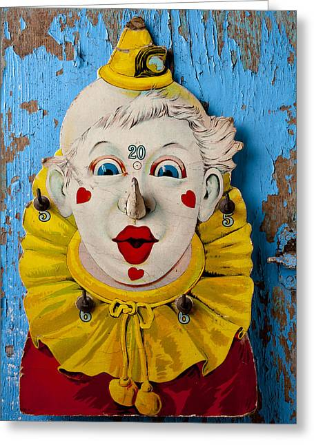 Cardboard Photographs Greeting Cards - Clown toy game Greeting Card by Garry Gay