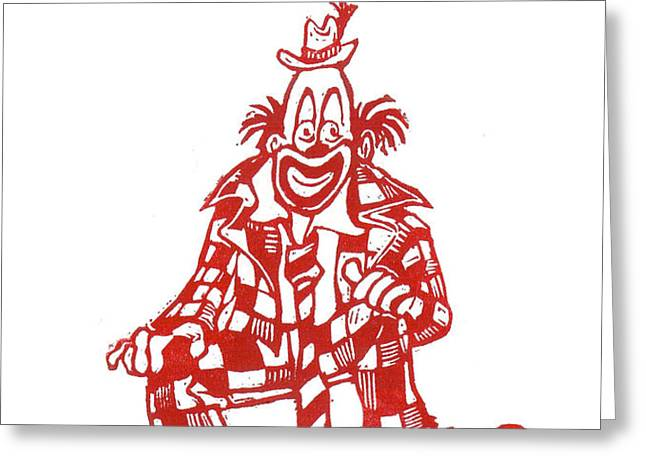 Clown with Mouse Greeting Card by Barry Nelles Art