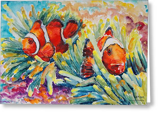 Clownfish In Their Paradise Greeting Card by Barbara Pommerenke
