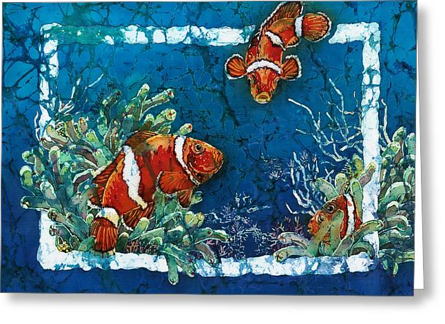 Kids Tapestries - Textiles Greeting Cards - Clowning Around - Clownfish Greeting Card by Sue Duda