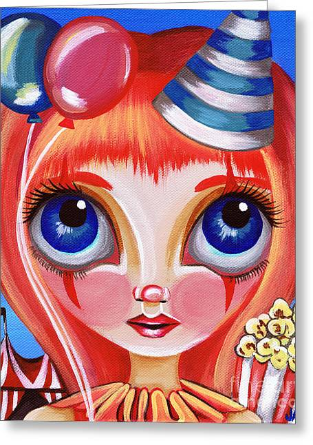 Colourful Surrealist Greeting Cards - Clowning Around Greeting Card by Jaz Higgins