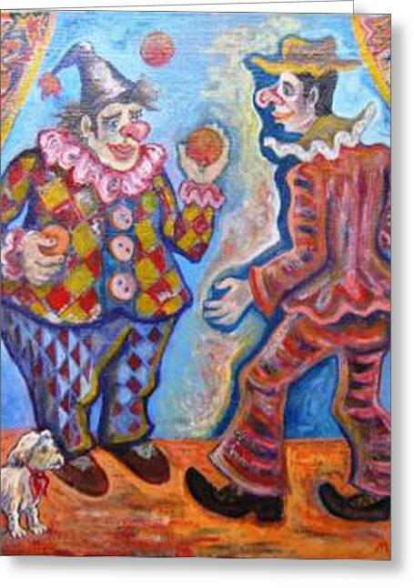 Juggling Drawings Greeting Cards - Clowns Greeting Card by Milen Litchkov